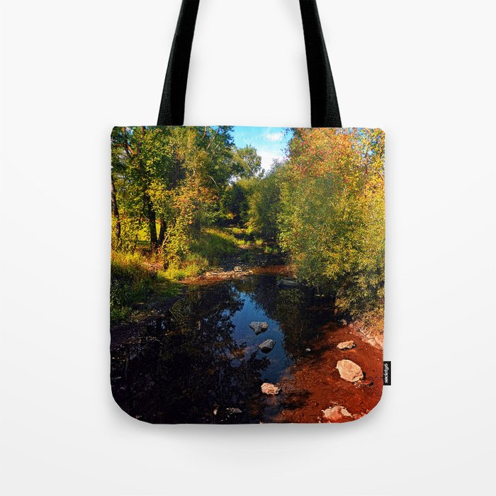 River scene at the end of summer Tote Bag