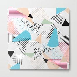 Pizza Retro Geometric 80's Metal Print