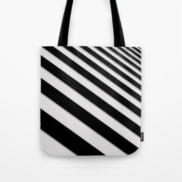 Perspective Solid Lines - Black and White Stripes - Digital Illustration - Artwork Tote Bag