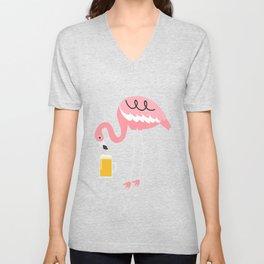 Pink Flamingo Drinking Beer Funny Gift Unisex V-Neck