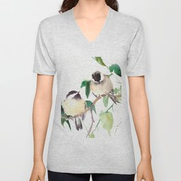 Chickadees, birds on tree, bird design neutral colors Unisex V-Neck