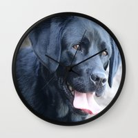 labrador Wall Clocks featuring Black Labrador by MehrFarbeimLeben