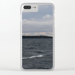 Waves of Grey Clear iPhone Case