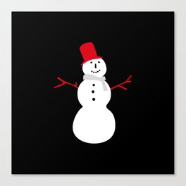 Christmas Snowman-Black Canvas Print