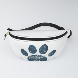 Adopt don't shop galaxy paw - blue Fanny Pack