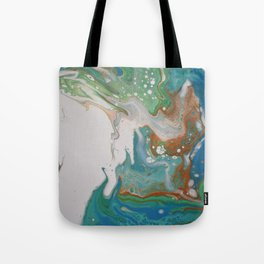 Turquoise Green Fluid Flow Marble Art Tote Bag