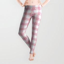 Nappy Faux Velvet Gingham in Pink on White Leggings