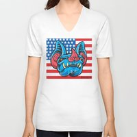 patriotic V-neck T-shirts featuring Patriotic Bat by Madison Cowles