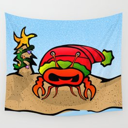 Sandy Claws Christmas Crab Wall Tapestry