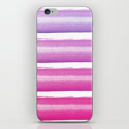 Simply hand painted pink and magenta stripes on white background  2 - Mix and Match iPhone Skin