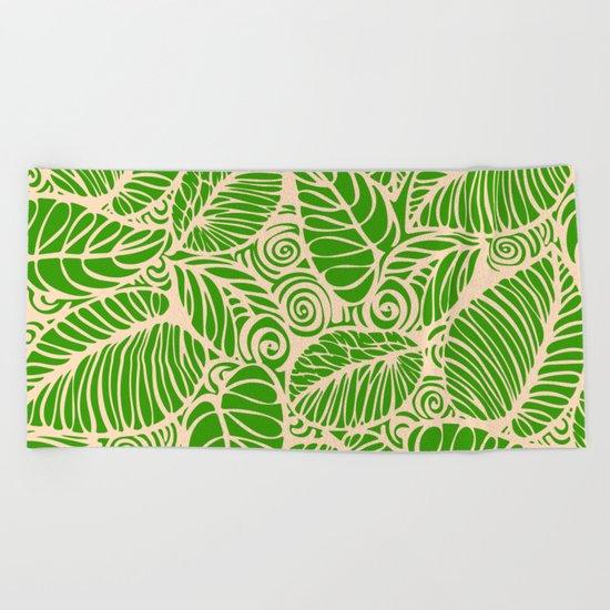 Summer Leaves Green Beach Towel