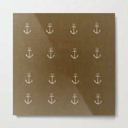 Anchors Away - Brown Metal Print