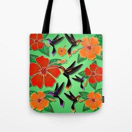 Hummingbird and Hibiscus Batik Pattern Tote Bag