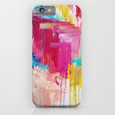 ELATED - Beautiful Bright Colorful Modern Abstract Painting Wild Rainbow Pastel Pink Color Slim Case iPhone 6
