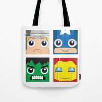 superheros Tote Bags featuring Earth Defenders by Jconner