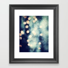 Bokeh Lights Sparkle Photography, Navy Gold Sparkly Abstract Photograph Framed Art Print