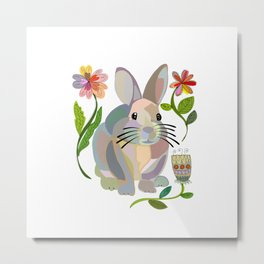 Bunny Rabbit with Flowers Metal Print