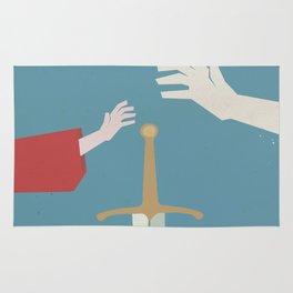 The sword in the stone, minimalist movie poster, animated film, King Arthur, Merlin, retro playbill Rug