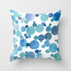 Blue bubbles watercolor painting Throw Pillow