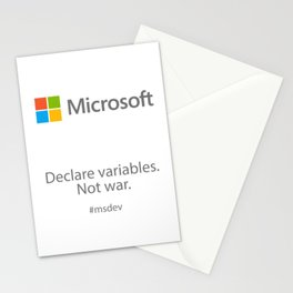 Declare variables. Not war. Stationery Cards