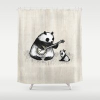 banjo Shower Curtains featuring Banjo Panda by Sophie Corrigan