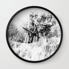 Whitetail Deer (Black and White) Wall Clock