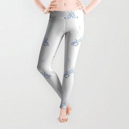 Crossed Cutlasses Blue Outline Leggings