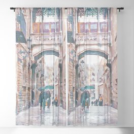 Carrer del Bisbe - Barcelona Sheer Curtain