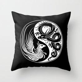 White and Black Dragon Phoenix Yin Yang Throw Pillow