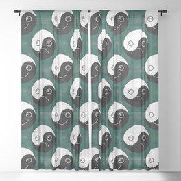 Happy Yin Yang & Sad Yin Yang  Sheer Curtain