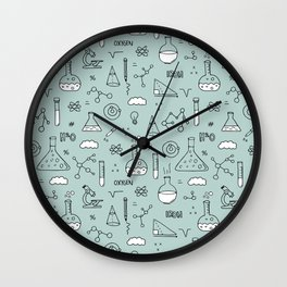 Back to school science physics math class student laboratorium blue Wall Clock