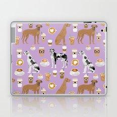 Great Dane coffee cafe dog breed pattern custom pet portrait Laptop & iPad Skin