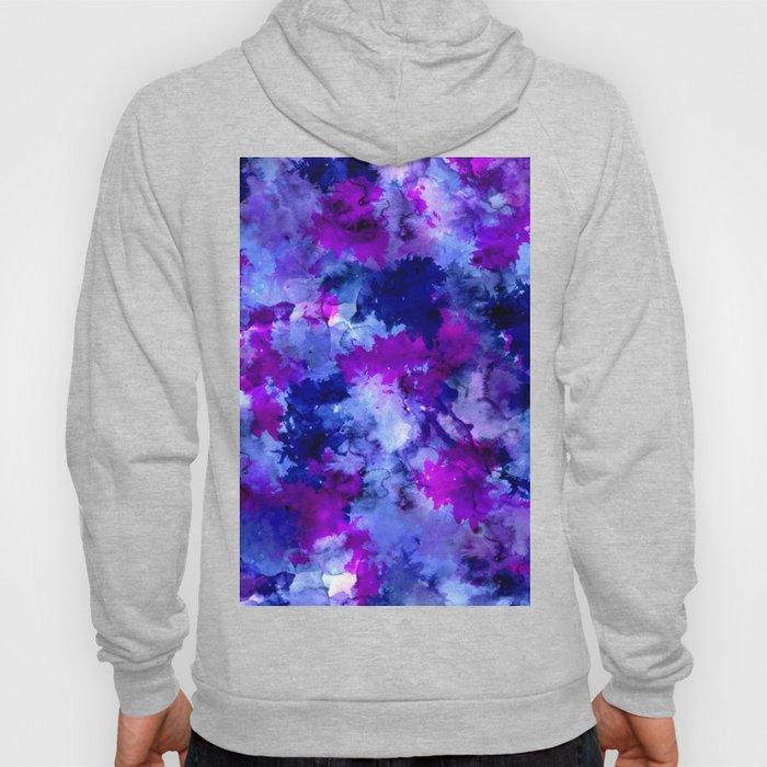 Modern blue purple watercolor brushstrokes paint Hoody