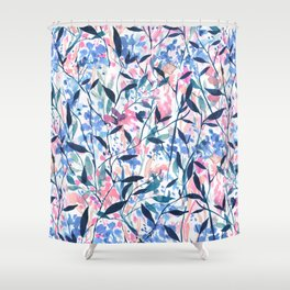 Wandering Wildflowers Blue Shower Curtain
