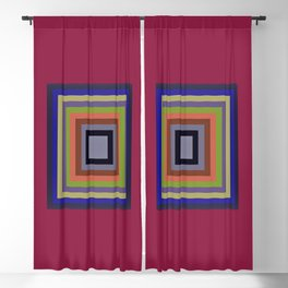 TARGET multi-colour squares wine red, royal blue, lime green, tan Blackout Curtain