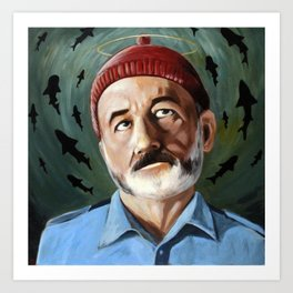 Steve Zissou - Patron Saint of Killing Sharks - Wes Anderson, Bill Murray Art Print