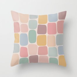 Minimal Blocks - Pastel Rainbow Throw Pillow