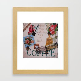 Collage happiness Coffee quote motivation shabby chic by Ksavera Framed Art Print