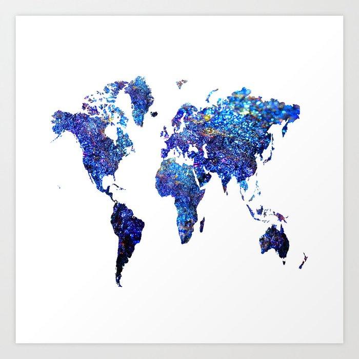 World Map Blue Purple Art Print By Haroulita Society6