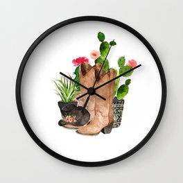 Boots and Cactus Wall Clock