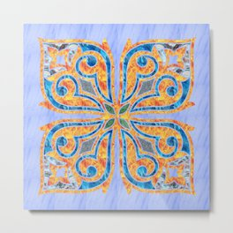 Blue Oriental Tile 02 Metal Print