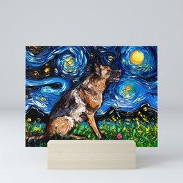 German Shepherd Night 3  Mini Art Print