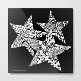 Midnight Zentangle Stars Black and White Illustration Metal Print