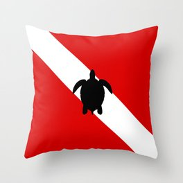 Diving Flag: Sea Turtle Throw Pillow
