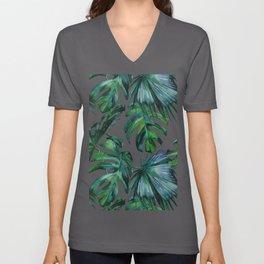 Tropical Palm Leaves Classic Unisex V-Neck