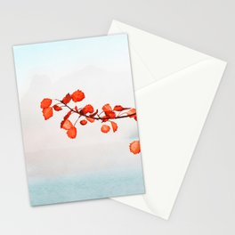Oak orange leaves on a lake watercolor painting  Stationery Cards