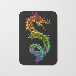 Traditional Chinese dragon in rainbow colors Bath Mat