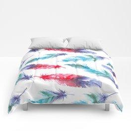Boho Watercolor feathers Comforters