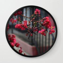 RED CHROME PETALS Wall Clock