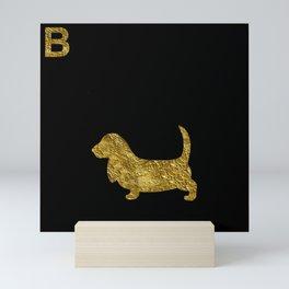 Basset Hound | Dog | gold foil Mini Art Print